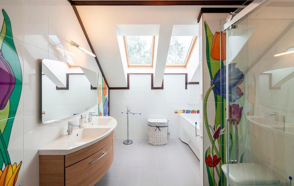 Другие варианты дизайна панно в ванной 36