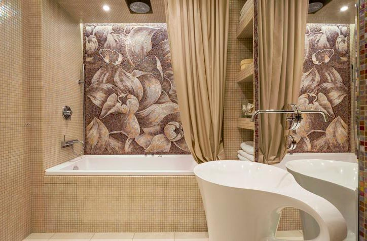 Другие варианты дизайна панно в ванной 37