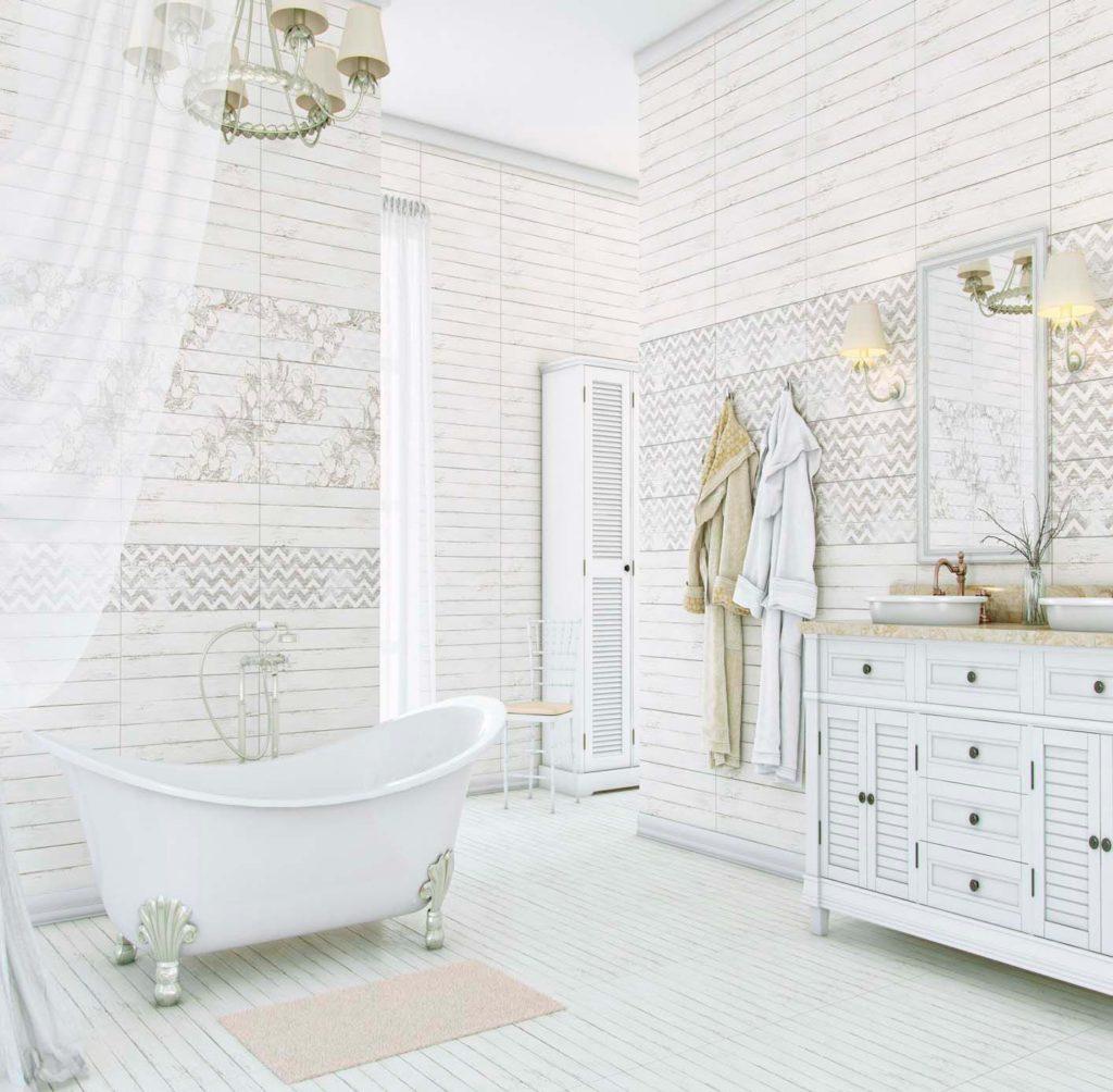 Фактура керамической плитки в ванной в стиле шебби-шик 3