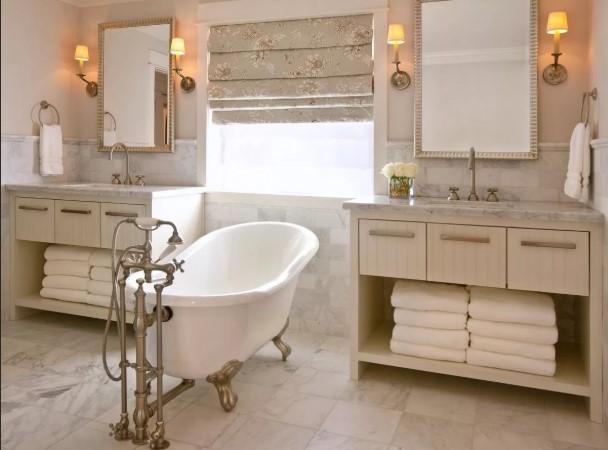 Фактура керамической плитки в ванной в стиле шебби-шик 4