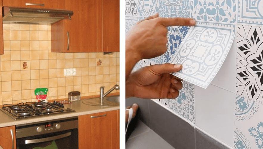 как обновить старый кафель на кухне