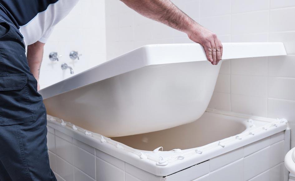 как установить ванную под плитку-замеры