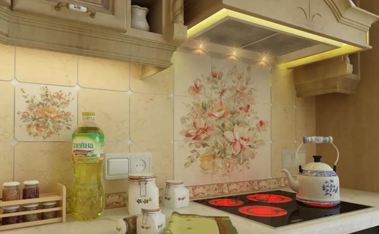 Крупная плитка прованс на кухне
