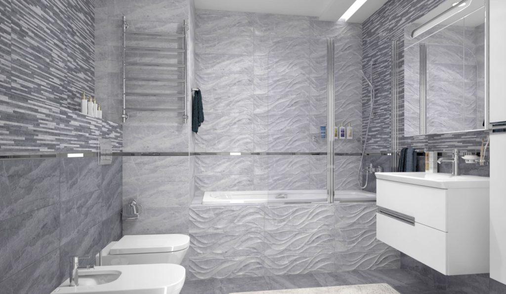 мелкопористая серая плитка для ванной