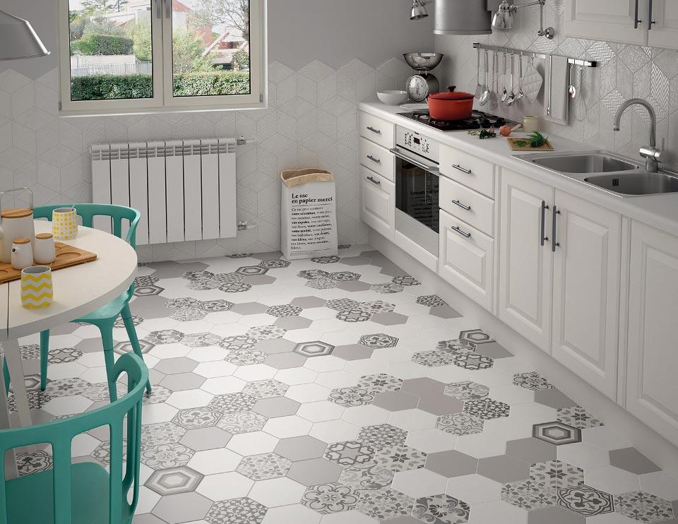 многоугольная плитка на пол для кухни
