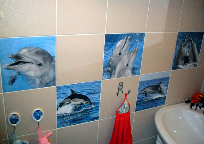 Одноплиточное панно для стены в ванной