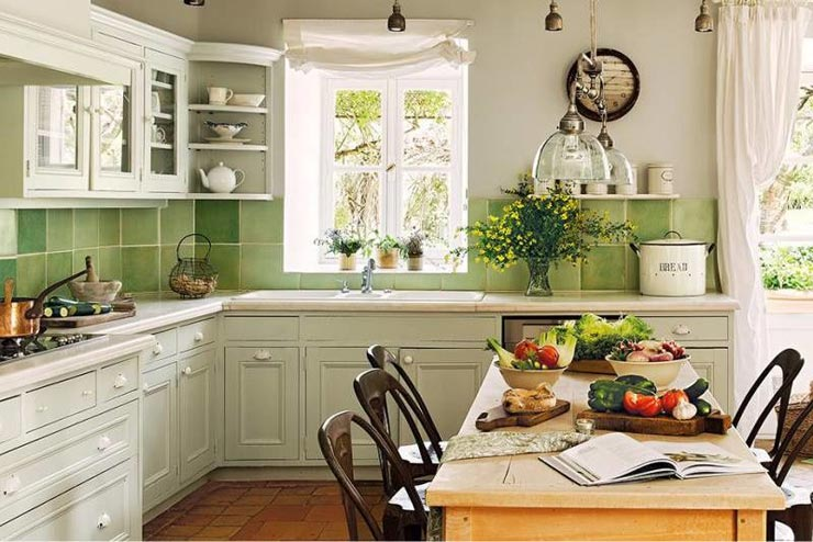 Оливковая плитка прованс на кухне