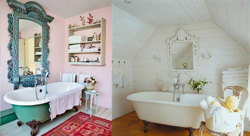 Отделка ванной в романтическом свете и использование элегантной мебели