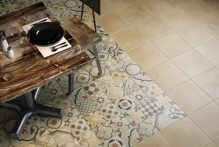 Плитка пэчворк в кухне на полу