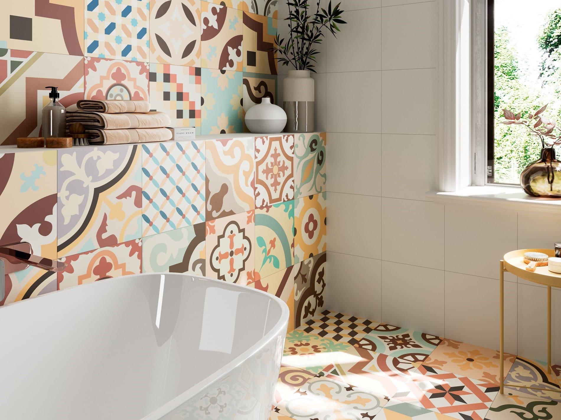 печворк плитка в ванной