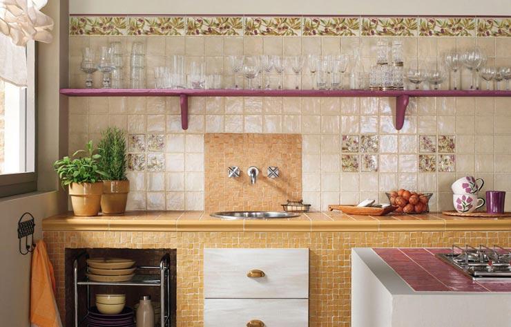 Плитка прованс с фасочкой на кухне