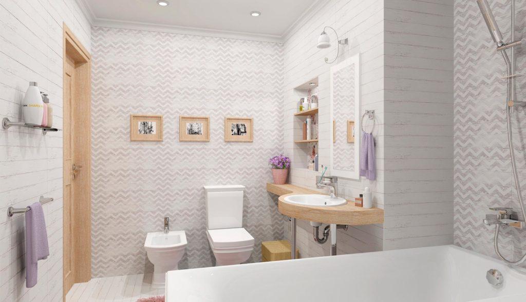 Плитка шебби шик в интерьере ванной 2