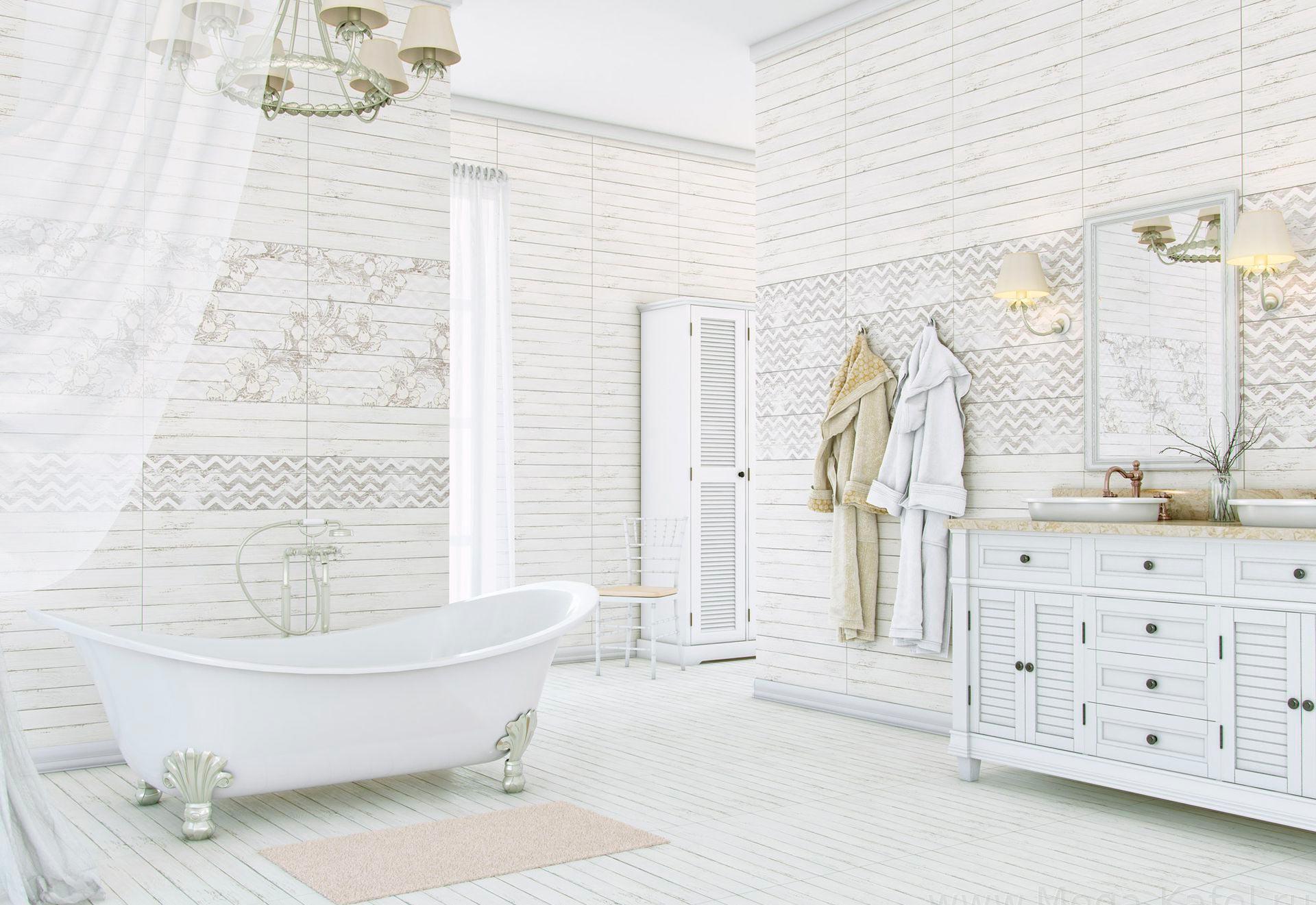Плитка шебби шик в интерьере ванной
