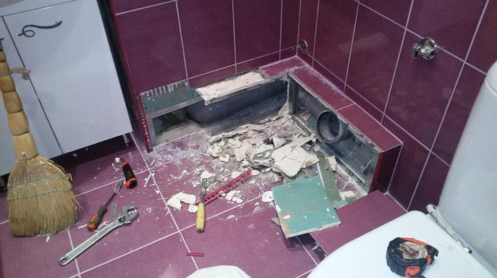 подготовка к демонтажу плитки