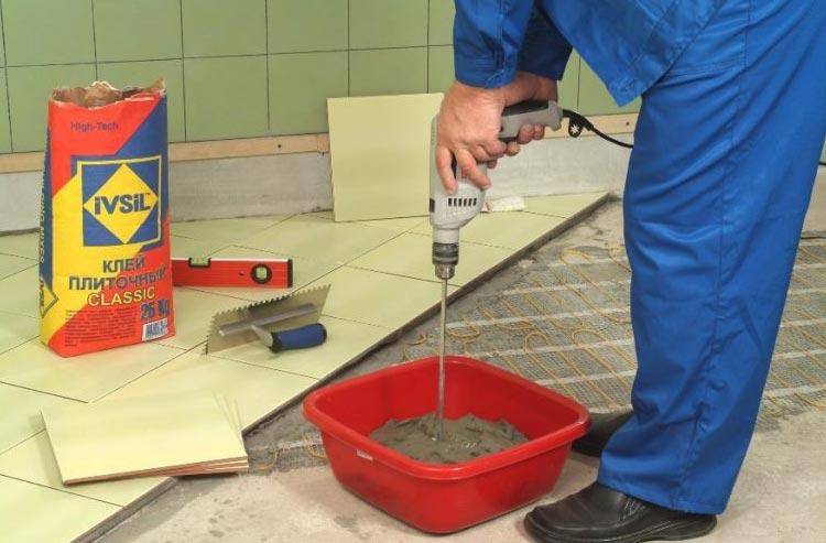 раствор для приклейки плитки в ванной