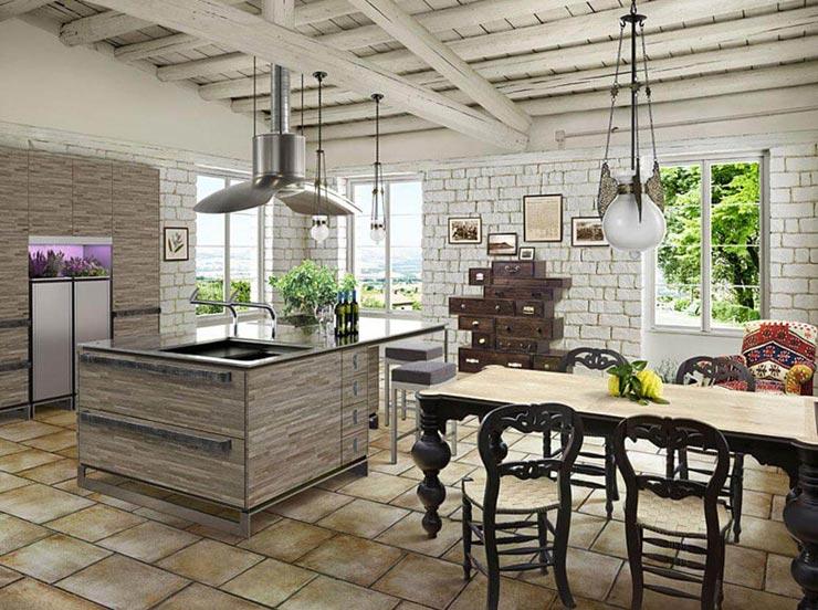 Рустик плитка прованс на кухне