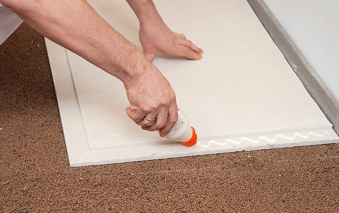 сборная стяжка на пол в ванной под плитку