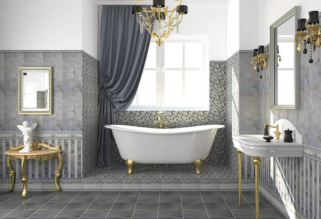 серая кафельная плитка для ванной комнаты пример