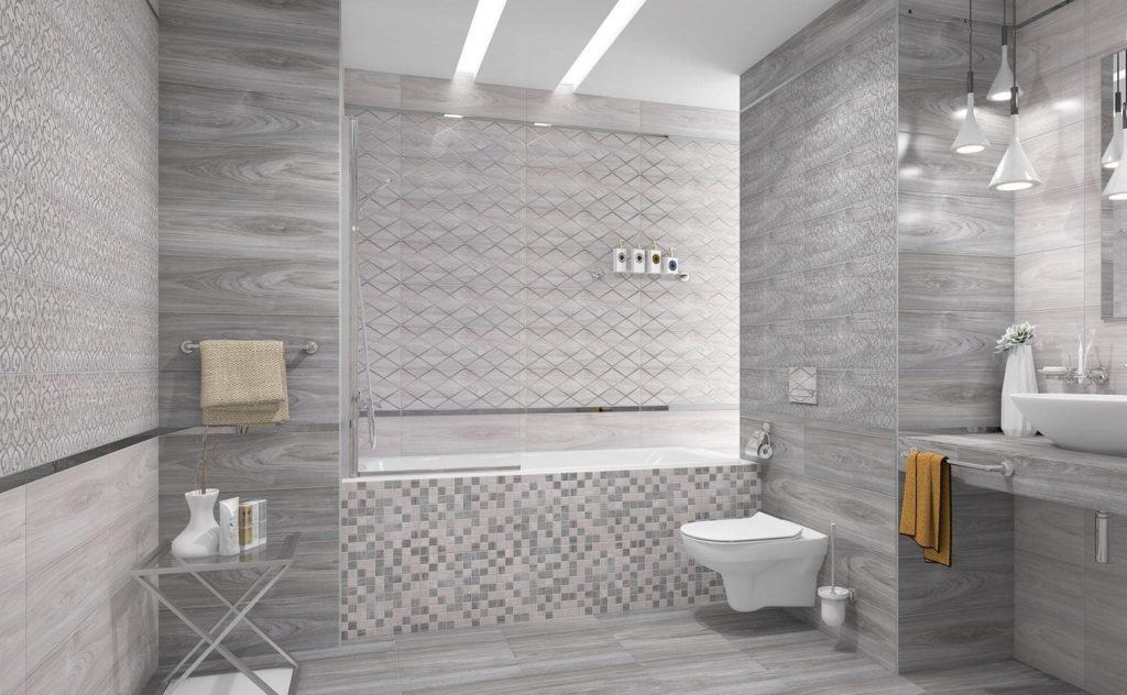серая кафельная плитка для ванной комнаты примеры