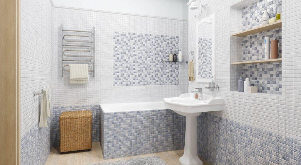 серая мозаика в ванной