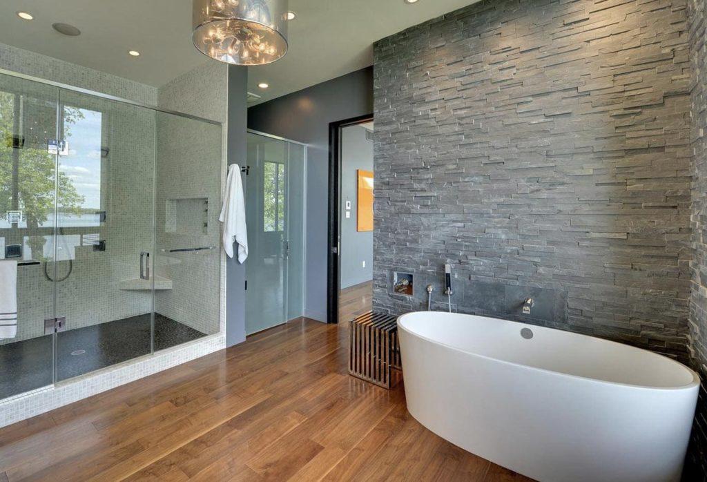 серая плитка для ванной камень