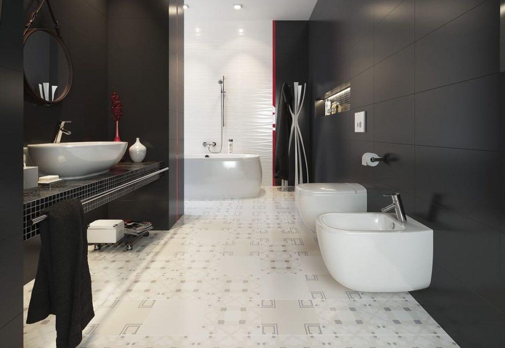 серая плитка для ванной цвета мокрого асфальта