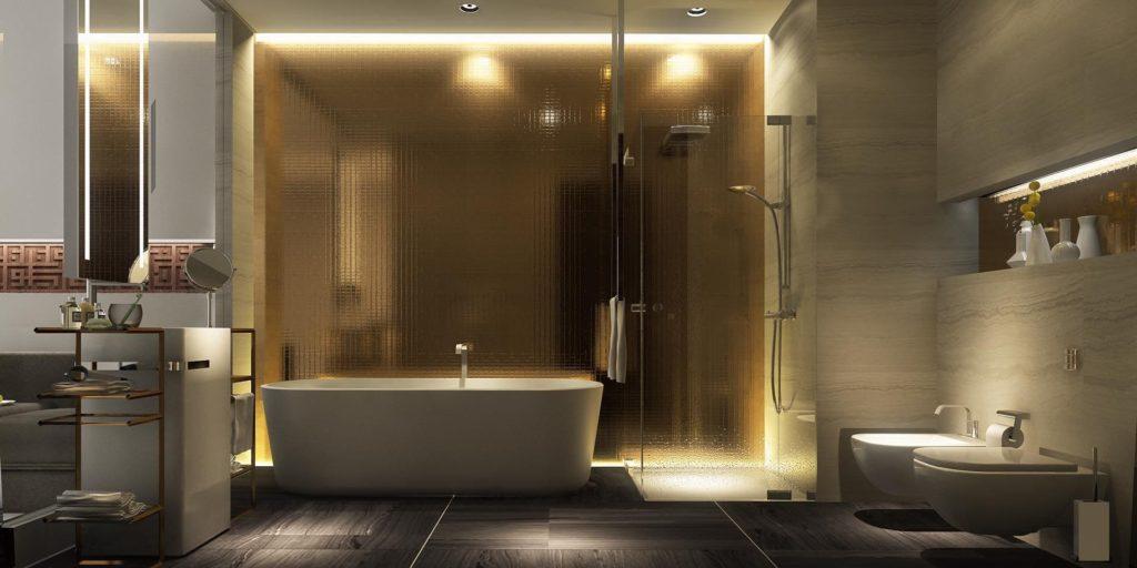 серая плитка теплый свет в ванной