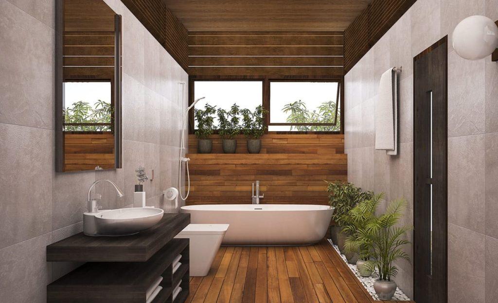 серый кафель в ванной с деревом