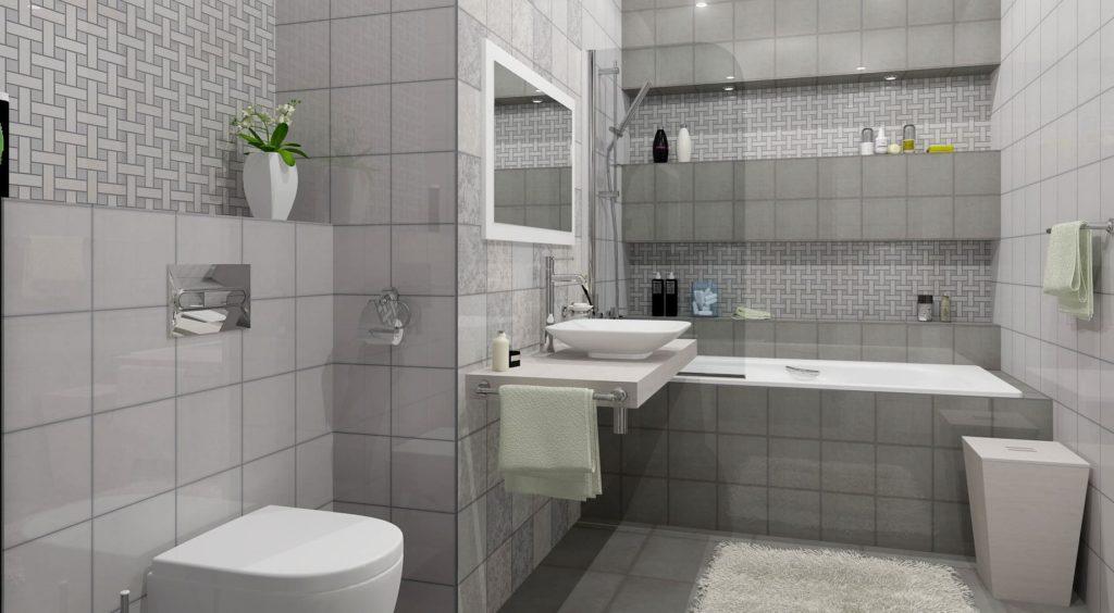 сочетание серой со светлой плиткой в ванной