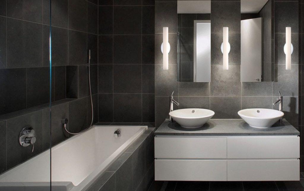 темная серая плитка в ванной пример