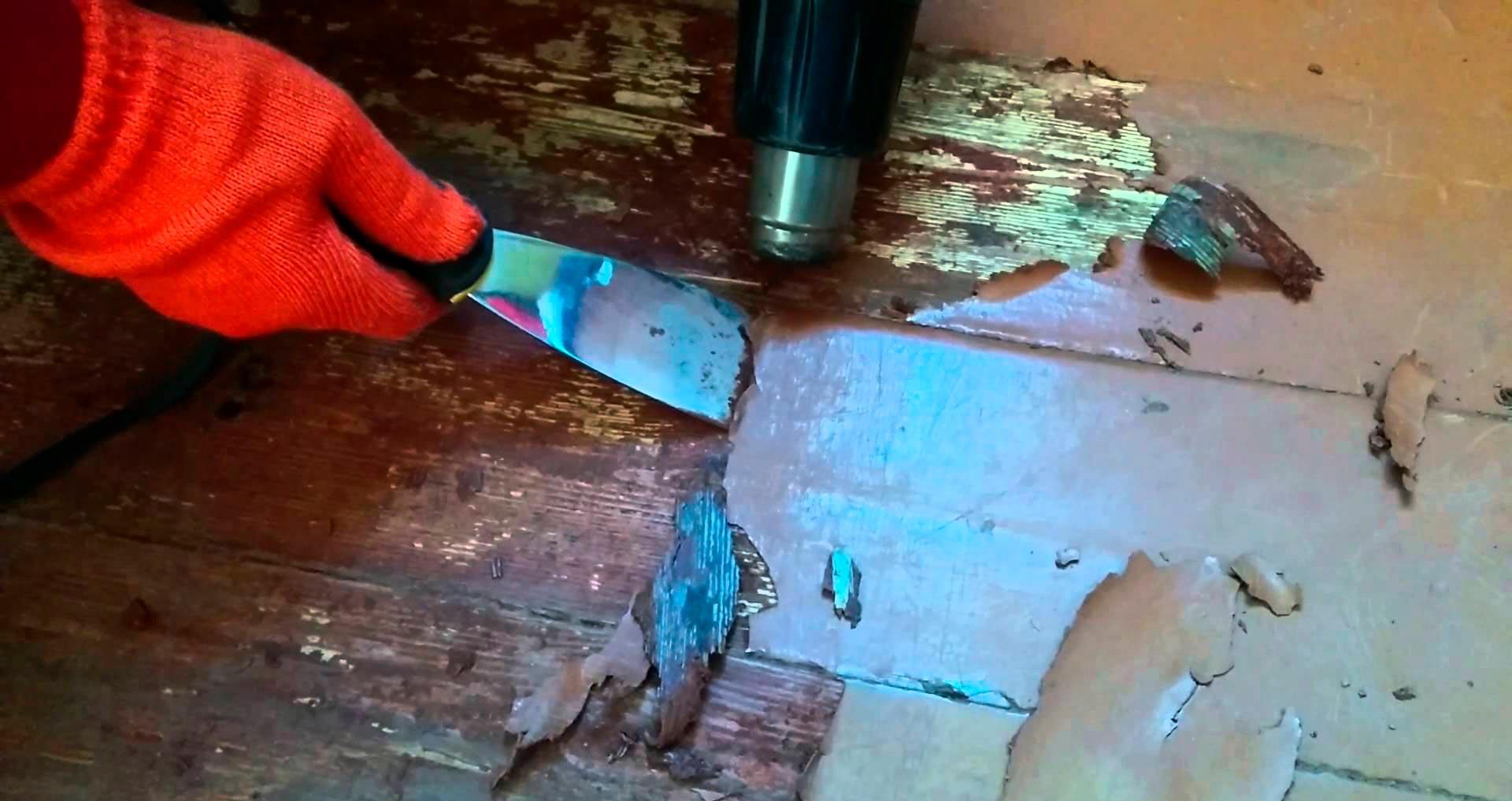 Удаление лака с деревянного пола перед укладкой ПВХ плитки