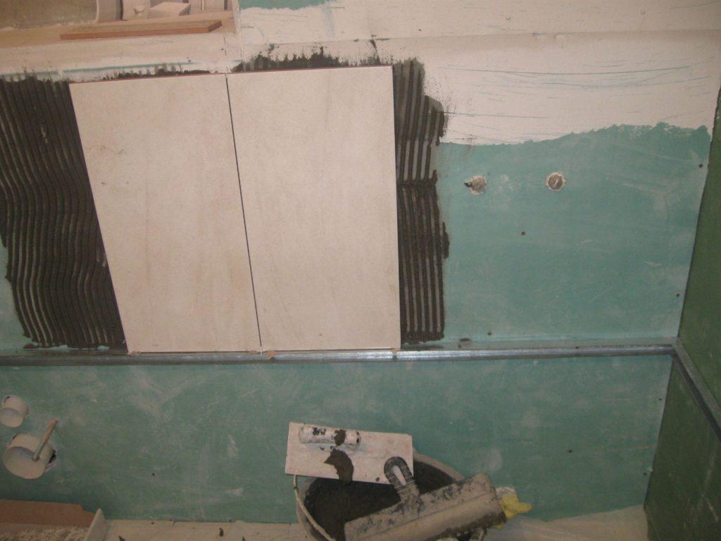 удаление старой плитки с гипсокартонового листа