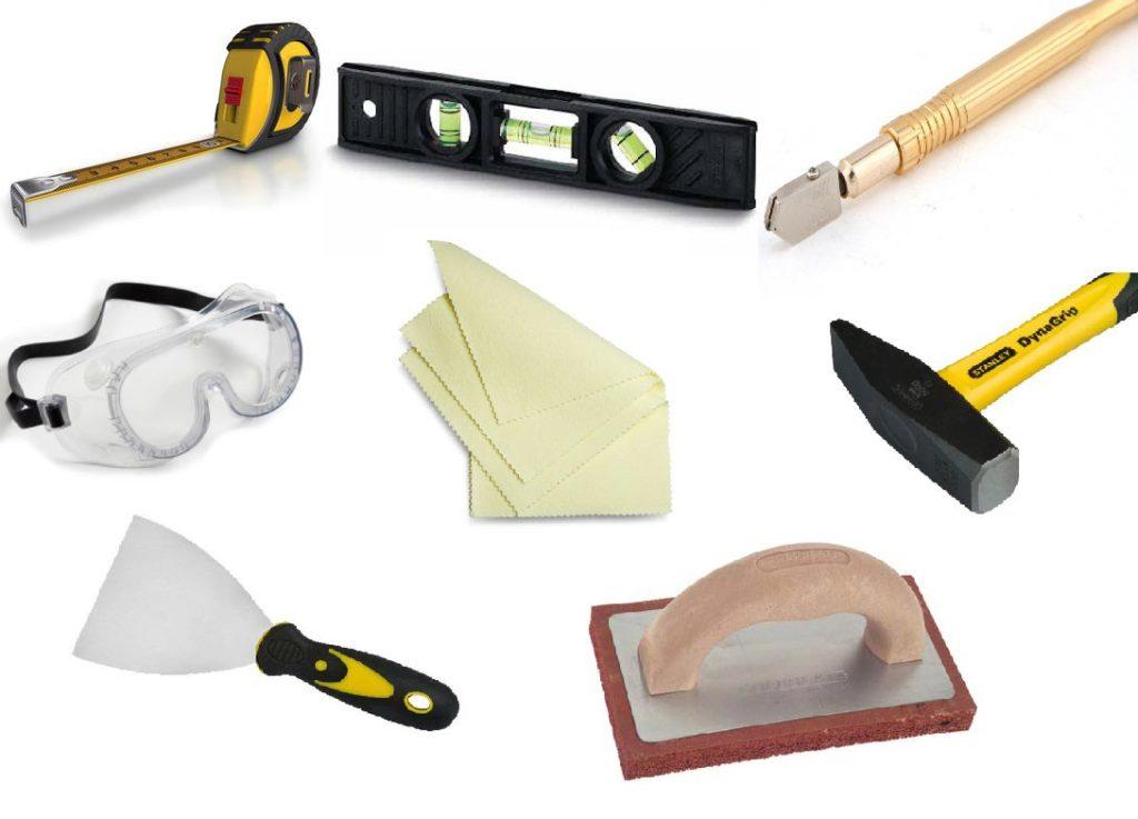 укладка плитки в ванной-инструменты
