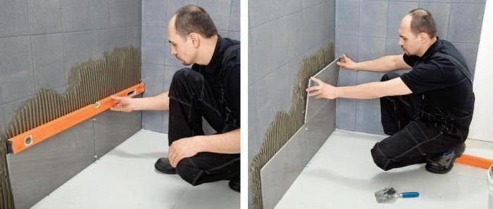 укладка плитки в ванной-второй ряд