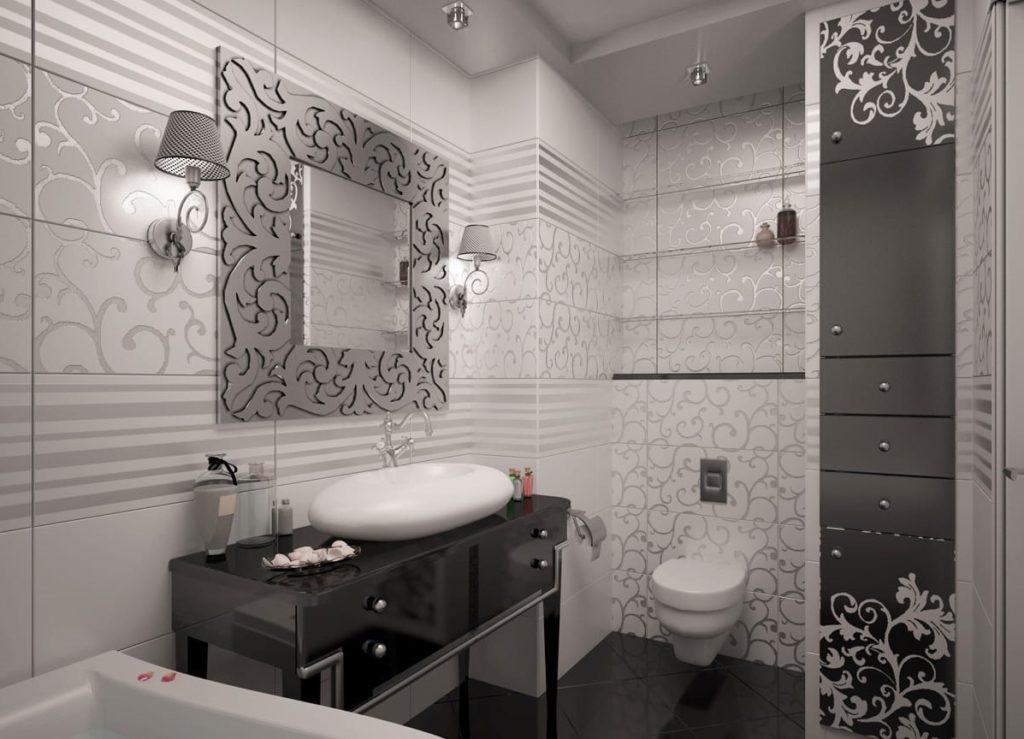 ванная серая плитка Арт-деко
