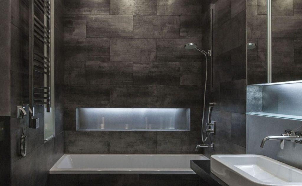 ванная серая плитка лофт