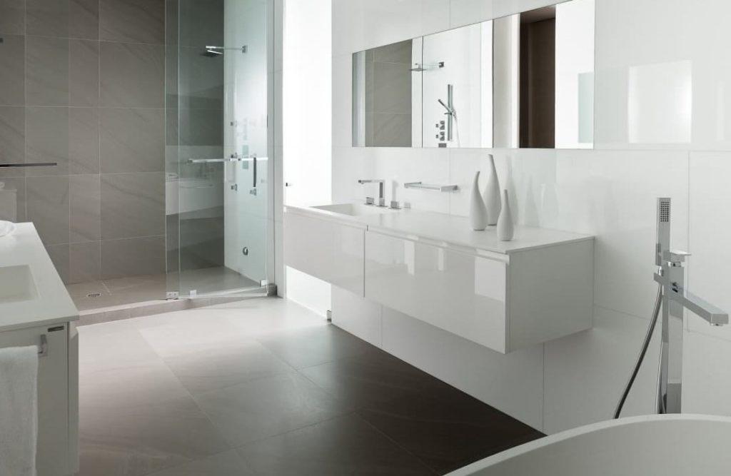 ванная серая плитка минимализм