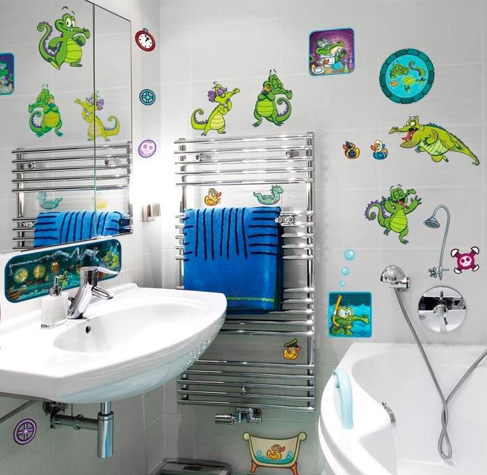 Виниловые наклейки на плитку в ванной 2