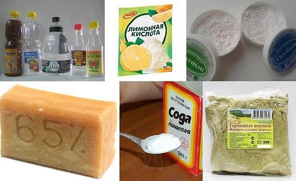 зубная паста, сода, горчица и лимонный сок для чистки швов между плиткой в ванной