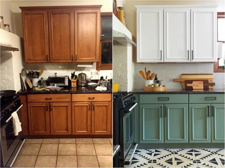 Кафель на кухне до и после покраски