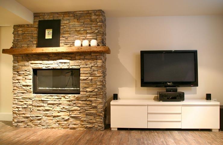 Камин гостиной с гипсовой плиткой