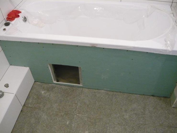 каркас под ванну из гипсокартона