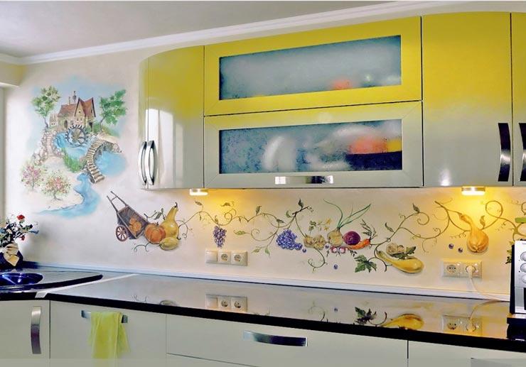 объемный рисунок на кухне