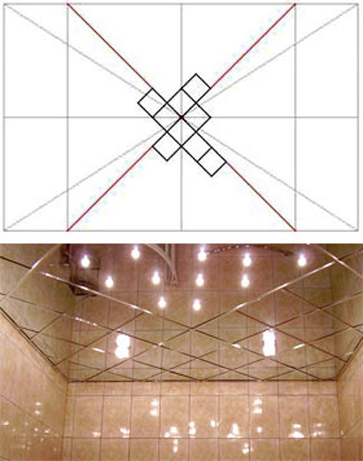 Поклейка потолочной плитки ромбом