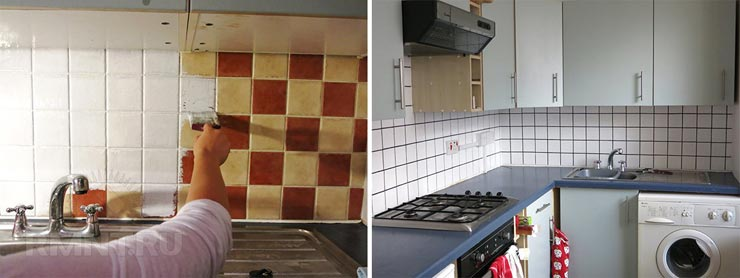 Покраска кафельной плитки на кухне