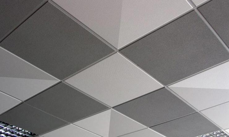 Потолочная плитка наискосок