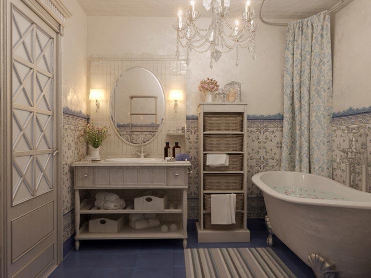 Стиль прованс в дизайне ванной