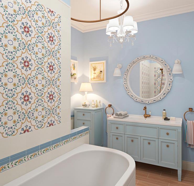 Вставки из цветов в ванной